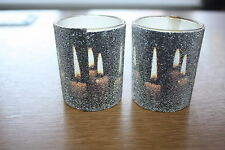 SET OF 2 CHRISTMAS VANILLA SCENTED VOTIVE CANDLES IN BLACK GLASS HOLDERS