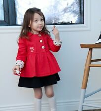 Girls Kids Trench Coat Wind Jackets Dress 2-7Y Outwear Autumn Winter Red Outwear