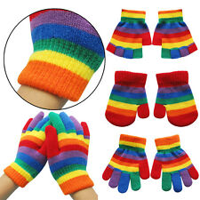 3 Style Kids Boys Girls Toddlers Knitting Wool Warm Gloves Rainbow Stripe Gloves