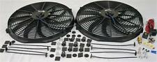 """Dual 16"""" Universal Electric Radiator Cooling Fans + Thermostat Relay & Mount Kit"""