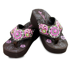 Montana West® Floral Embroidery Wedge Flip Flops, Sizes 6-11 - Coffee Pink
