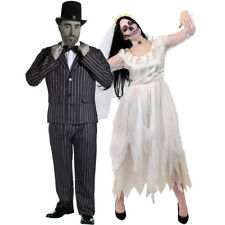 COUPLES WHITE CORPSE BRIDE AND GROOM HALLOWEEN FANCY DRESS COSTUME STRIPED SUIT