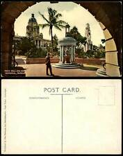 Durban War Memorial & Town Hall Monument Statue South Africa Old Colour Postcard