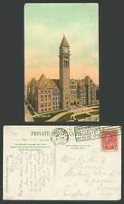 Canada 1912 Old Colour Postcard The City Hall Clock Tower Street Toronto Ontario