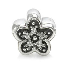 White Crystal 925 Sterling Silver FLOWER Threaded European Charm Bead