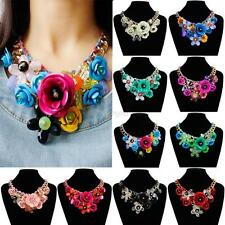 Womens Crystal Statement Choker Flower Necklace Chunky Collar Pendant Jewelry