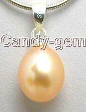 "SALE Big 8-10MM Drop natural Pink Pearl Pendant with Silver 925 16"" Chain-ne5168"