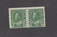 CANADA # 125i MLH KGV 1ct GREEN PASTE UP COIL PAIR  CAT VALUE $12+