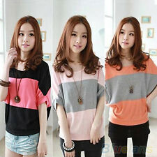 Women's Soft Bat Short Sleeve Loose Casual T-Shirt Blouse Tank Top Shirt Fashion