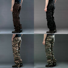 Mens Army Stonewashed Camo Combat Work Cargo Pants Trousers Casual Sweatpants