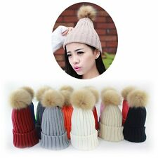 Women Fur Pom Pom Ball Knit Crochet Baggy Bobble Hat Beanie Beret Ski Cap Winter