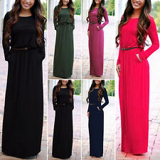 Boho Womens Ladies Long Sleeve Evening Cocktail Party Jumper Maxi Belted Dress