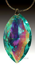 Swarovski Green AB Crystal 8745-38mm Cats Eye Marquis Prism Pendant 1-3/8 inch