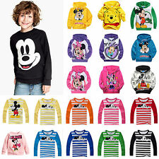 Toddler Kids Boys Girls Mickey Minnie Tracksuit Tops Hoodies Sports T-shirt Tee