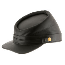 Genuine Leather Civil War Kepi Cap Army Military Soldier Cadet Hat