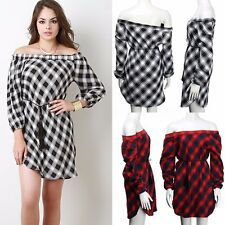 NEW Women Off Shoulder Plaids Long Sleeve Cocktail Casual Party Short Mini Dress