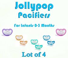 (4) JollyPop Pacifier 0-3 Month Pick Your Color &/or Scent Baby Soothie Gumdrop