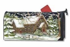 Village Church Winter Magnetic Mailbox Cover Religious MailWraps Standard