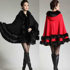 Ladies Fashion Coat Winter Autumn Shawl/Cape/Cloak Vintage FUR Collar Hooded