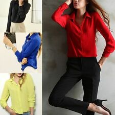 Newest Sexy Casual Womens Long Sleeve Button Chiffon Tops Shirt Blouse Tops
