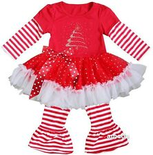 Rhinestone Christmas Tree Red White Stripes  Ruffled Top Pants Outfit