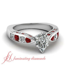 1.5 Ct Pear Shaped Cut:Very Good Diamond & Red Ruby Engagement Ring 14K Gold GIA