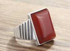 Mens Ring Red Agate Natural Gemstone 925 K Sterling Silver Ring All sizes