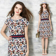European Fashion Womens Summer Short Sleeve Printed High Waist Slim Belted Dress