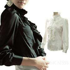 Satin Ruffle front blouse Button Down Shirt Winter Career Glamour Top Size