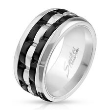 Two Tone Grooved 3-Part Spinner Center Stainless Steel Wedding Band Mens Ring