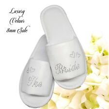 Personalised Diamante Wedding Bride Spa Slippers Guest Sparkling Clear Script