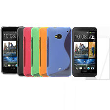 S-Line Shape Skin Gel TPU Case Cover + 3X Screen Protector Guard for HTC One M7