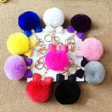 1Pcs True Rabbit Fur Pom-pom Bowknot Ball Keychain Keyring Pendant Car Bag Decor