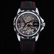 Military Men's Automatic Mechanical Skeleton Stylish Silicone Wrist Watch Sport