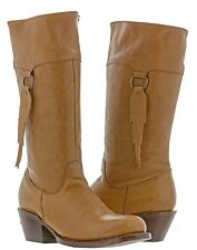 Womens Smooth Light Brown Leather Fashion Western Cowboy Cowgirl Boots Rodeo New