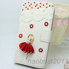 Bling Luxury red lace girl flower Diamonds Crystal PU Leather flip Cover Case #C