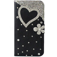 Bling Luxury love heart flowers Diamonds Crystal PU Leather flip Cover Case #D
