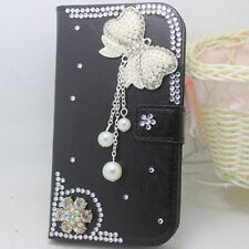 Bling Luxury pearls bow tassel Diamonds Crystal PU Leather flip Cover Case #D