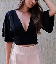 New Womens Ladies Solid Black Sexy V-Neck Short Sleeve Crop Top Blouse Shirt