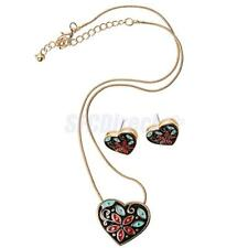 Colorful Enamel Flower Necklaces Pendants Women Long Chain Necklace Earring Set