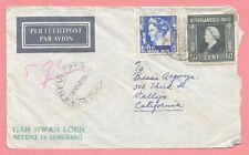 1940s NETHERLANDS DUTCH EAST INDIES COVER SEMARANG AIRMAIL EXCHANGE CONTROL 2 US