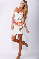 Tina Ivory Floral Front Frill Detail Bandeau Bodycon Dress