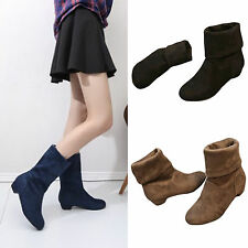 Hot Womens Casual Comfort Mid Calf Knee High Round Toe Slouch Flat Boot Shoes