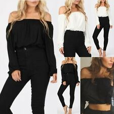 Sexy Women Boat Neck Long Sleeve T shirt Crop Top Tank Cami Ladies Casual Blouse
