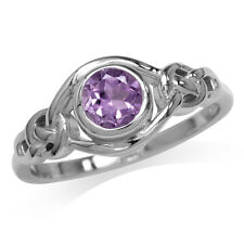 Natural Amethyst 925 Sterling Silver Celtic Knot Ring