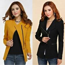 Fashion Women Long Sleeve Zipper Suit Coat Casual Slim Suit Jacket Blazer Tops