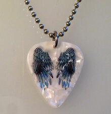 Guitar Pick Necklace Jewelry Ball Chain ANGEL WINGS TATTOO