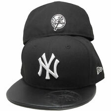 NEW YORK YANKEES MLB NEW ERA 59FIFTY LEATHER STAMPED FITTED BLACK HAT/CA