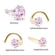 14K White Yellow Gold Nose Ring Bone L Shape Screw 2.5mm Pink Heart 18G 20G 22G