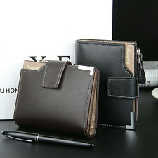 Men Leather credit Card holder Clutch Trifold Wallet Purse Zipper Coin Pocket